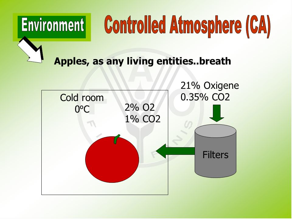 controlled atmosphere A controlled atmosphere is an environment that is artificially produced, in which the oxygen, nitrogen and carbon dioxide concentrations as well as the temperature and humidity are regulated.