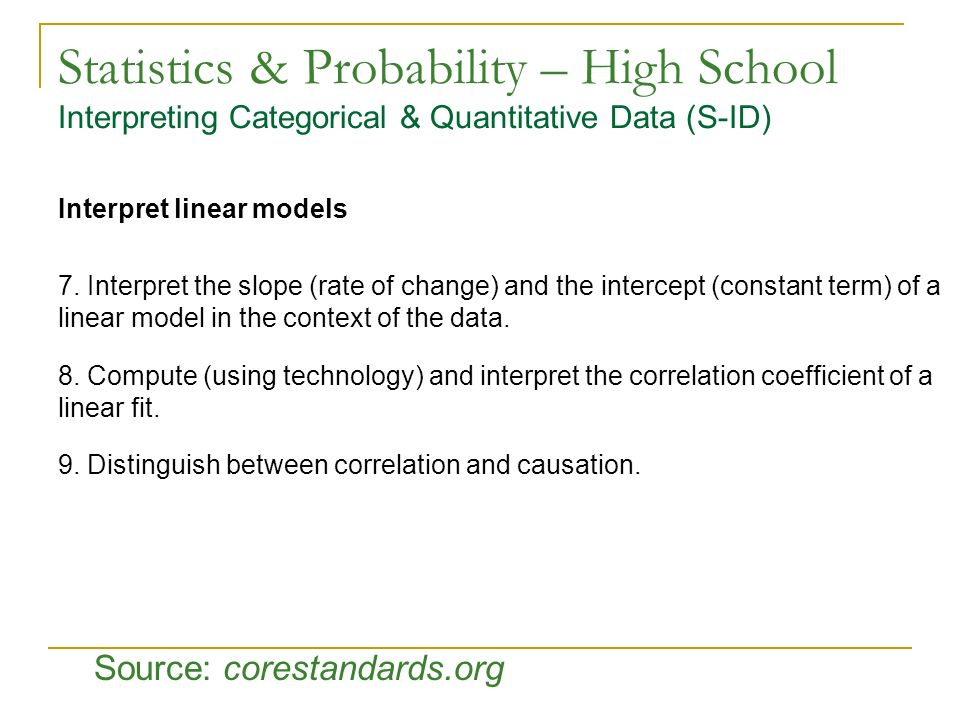 Statistics & Probability – High School Interpreting Categorical & Quantitative Data (S-ID)
