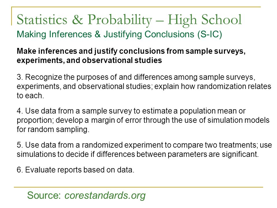 Statistics & Probability – High School Making Inferences & Justifying Conclusions (S-IC)