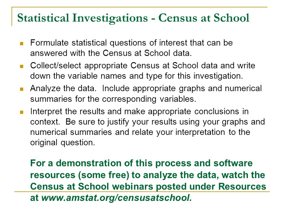 Statistical Investigations - Census at School