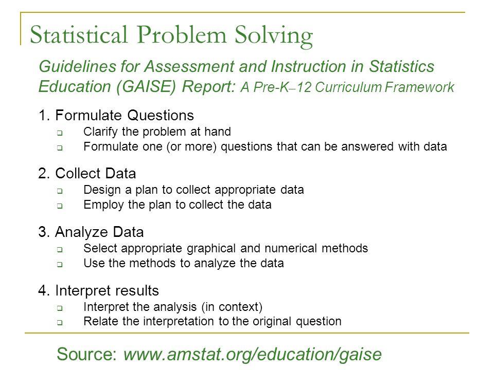 rebecca nichols and martha aliaga american statistical association  statistical problem solving
