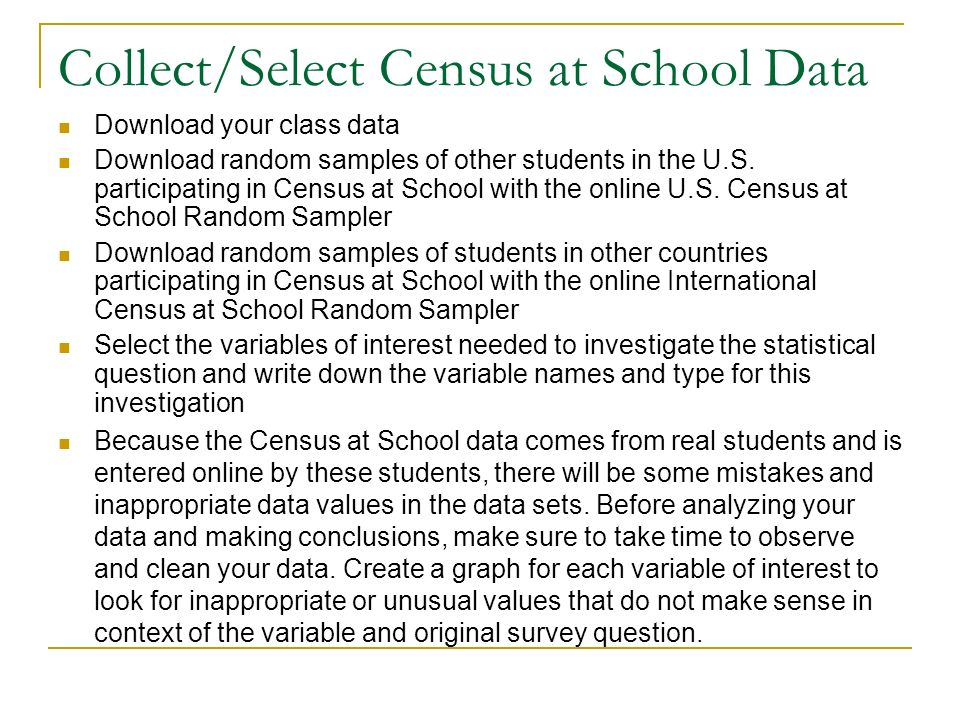 Collect/Select Census at School Data