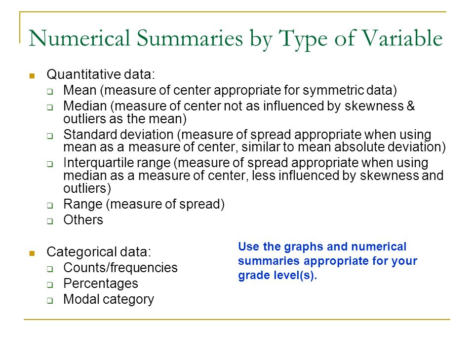 Numerical Summaries by Type of Variable