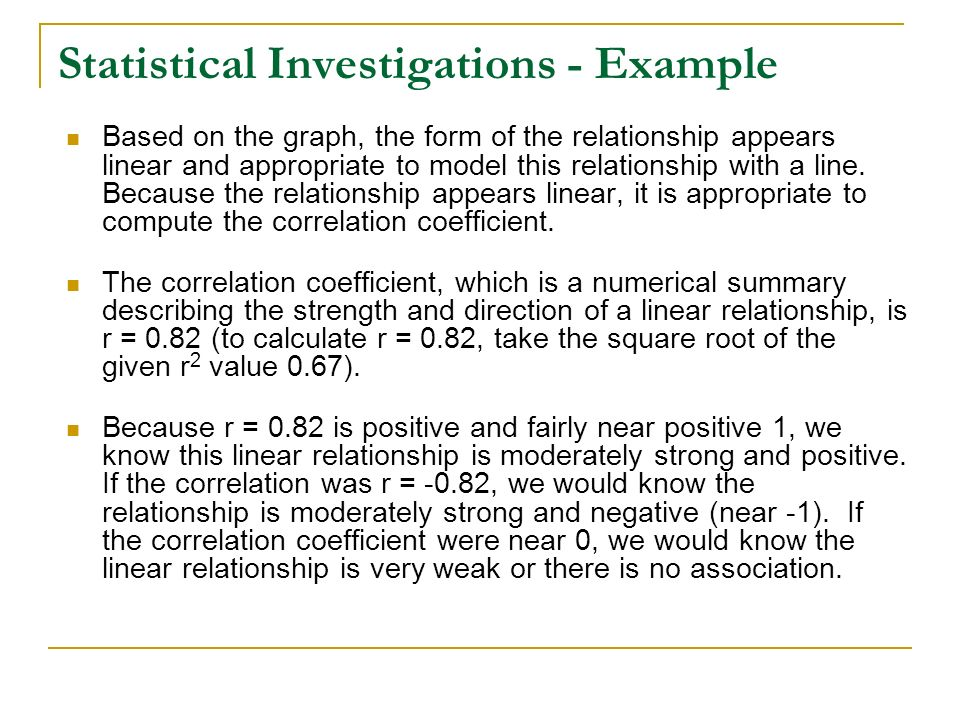 Statistical Investigations - Example