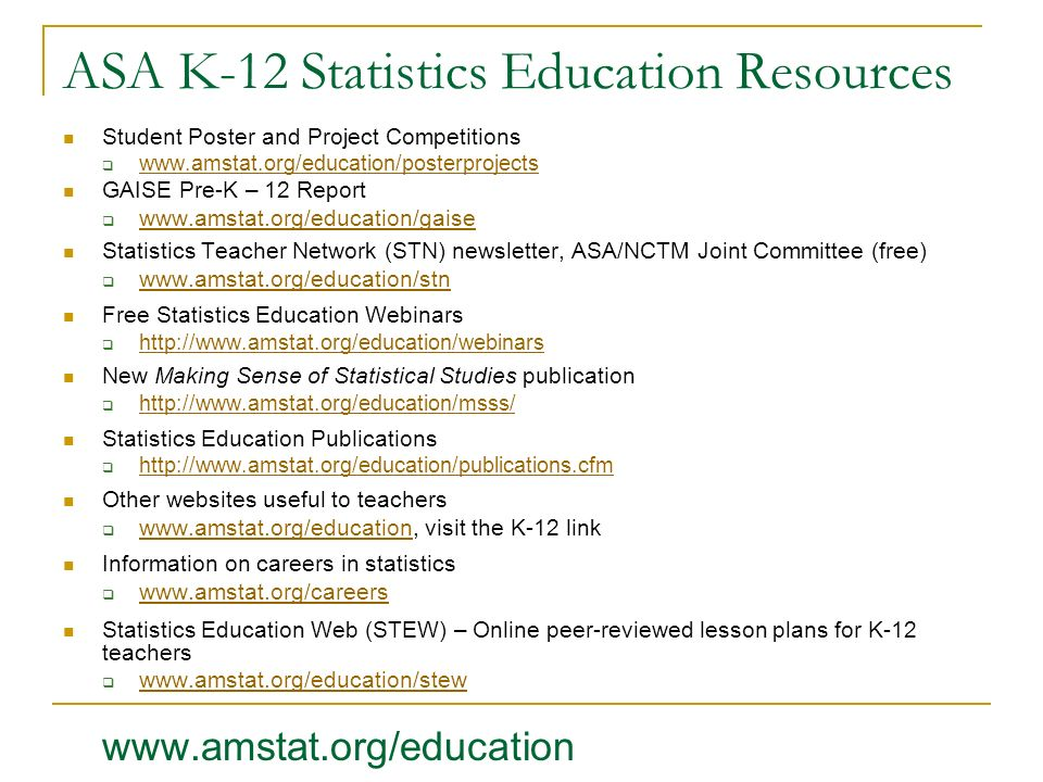ASA K-12 Statistics Education Resources