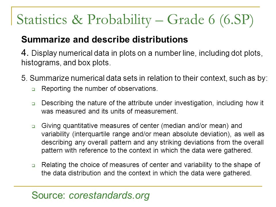 Statistics & Probability – Grade 6 (6.SP)