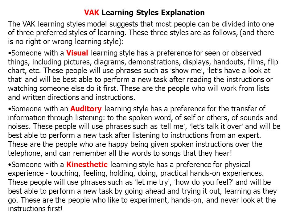 differentiated formative assessment to improve student learning  vak learning styles explanation