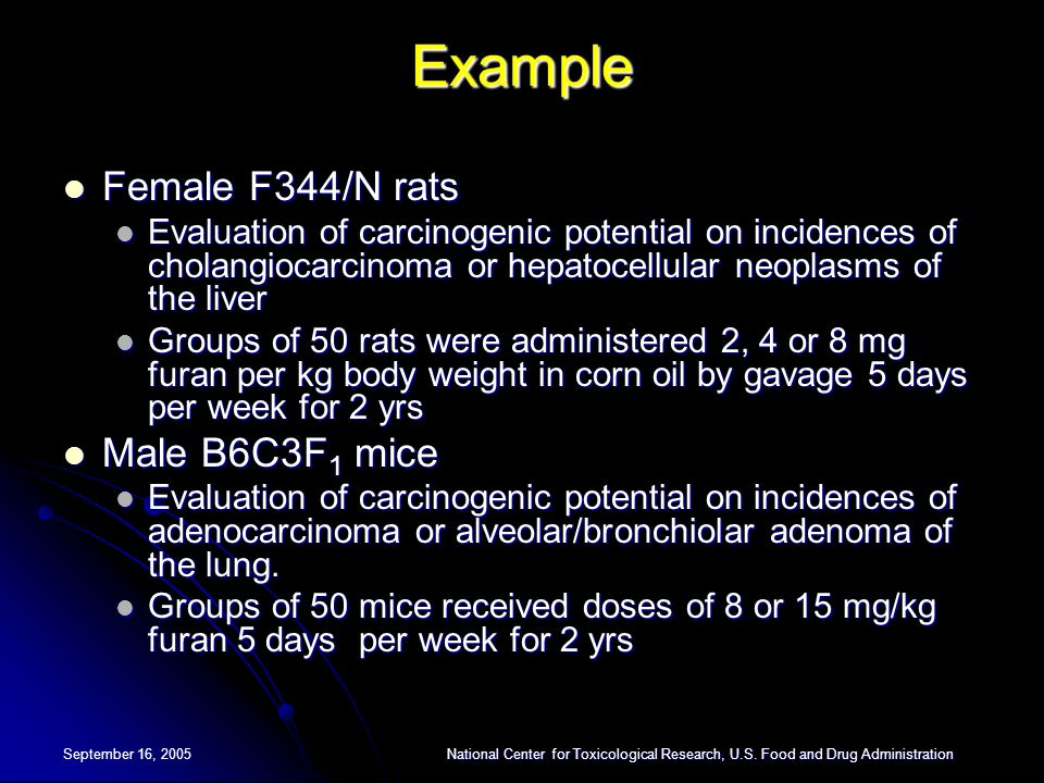 Example Female F344/N rats Male B6C3F1 mice