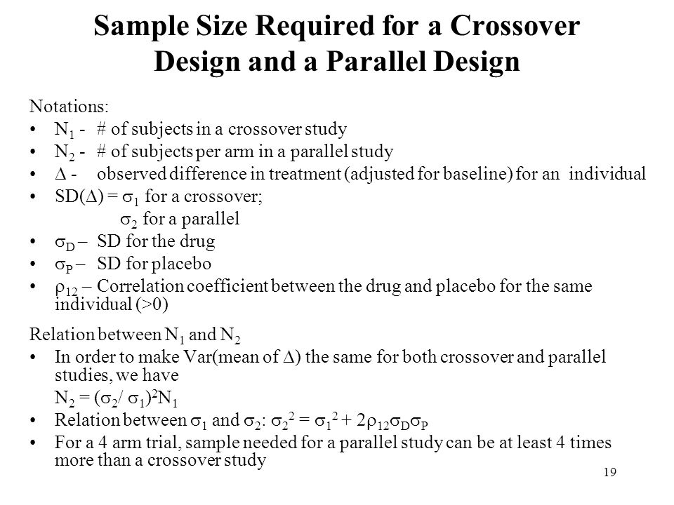 Sample Size Required for a Crossover Design and a Parallel Design