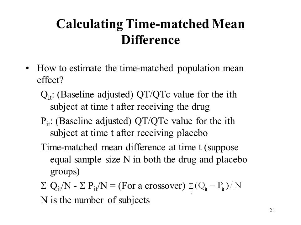 Calculating Time-matched Mean Difference