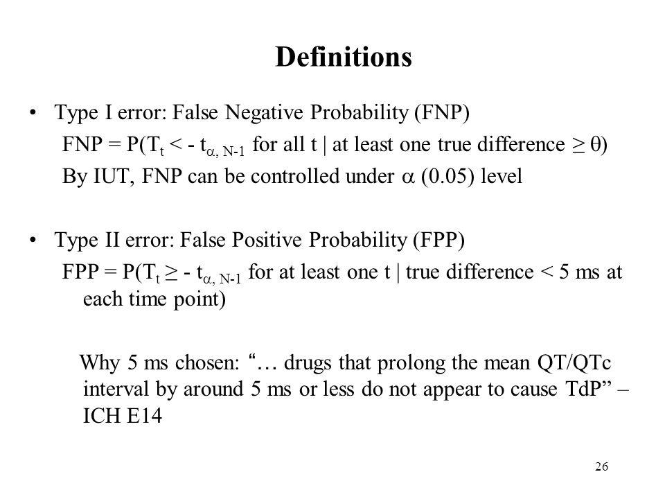 Definitions Type I error: False Negative Probability (FNP)