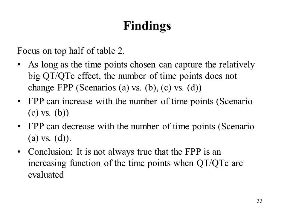 Findings Focus on top half of table 2.