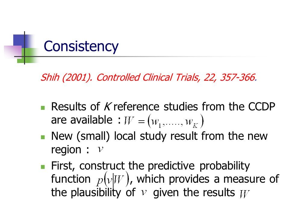 Consistency Shih (2001). Controlled Clinical Trials, 22, Results of K reference studies from the CCDP are available :