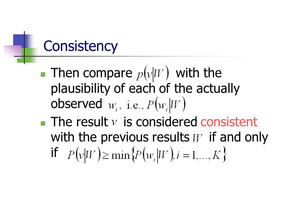 Consistency Then compare with the plausibility of each of the actually observed.