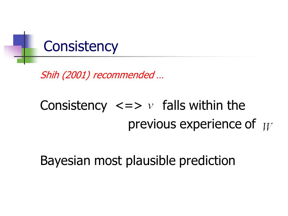 Consistency Consistency <=> falls within the