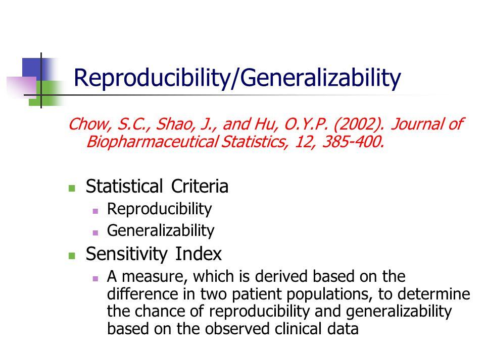 Reproducibility/Generalizability