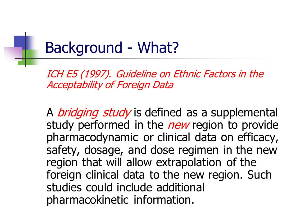 Background - What ICH E5 (1997). Guideline on Ethnic Factors in the Acceptability of Foreign Data.
