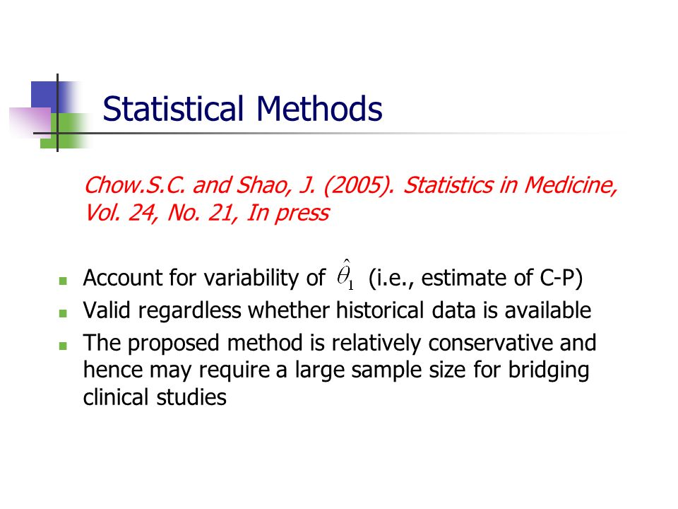 Statistical Methods Account for variability of (i.e., estimate of C-P)
