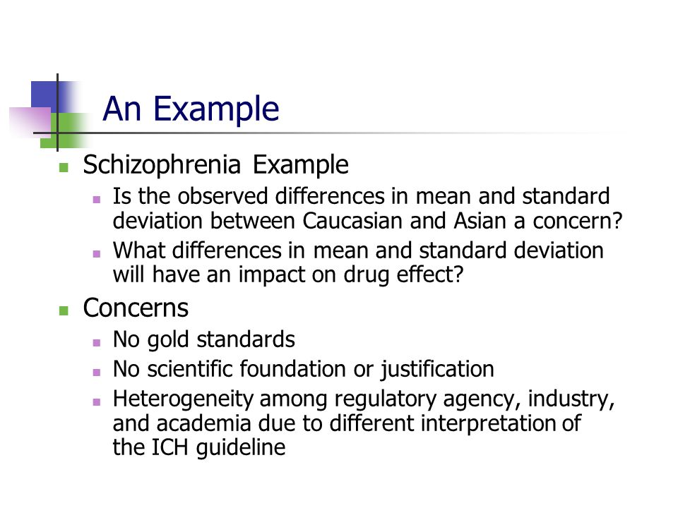 An Example Schizophrenia Example Concerns
