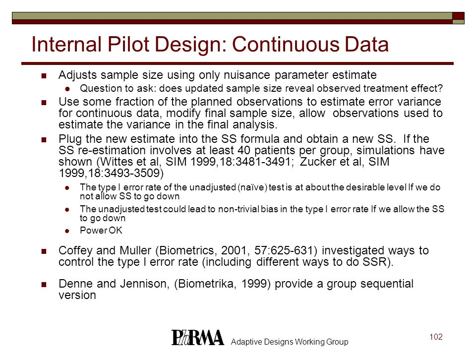 Internal Pilot Design: Continuous Data
