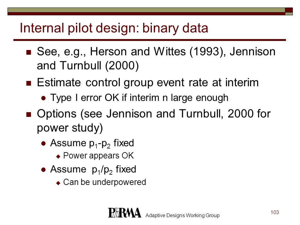 Internal pilot design: binary data