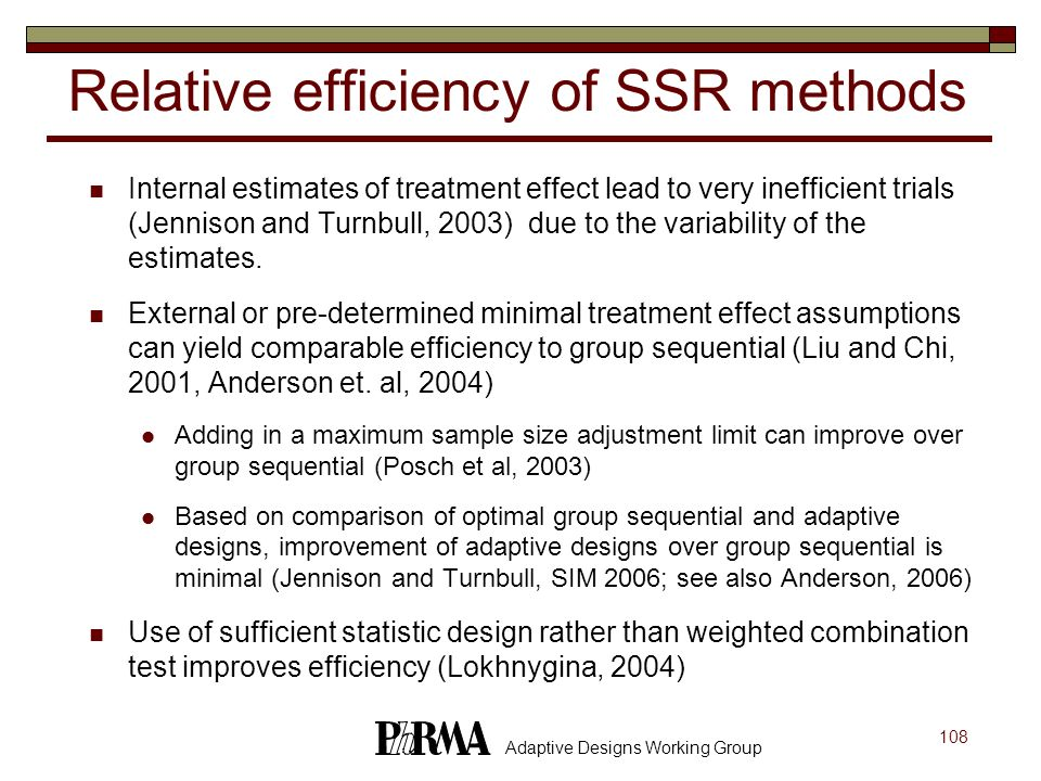 Relative efficiency of SSR methods