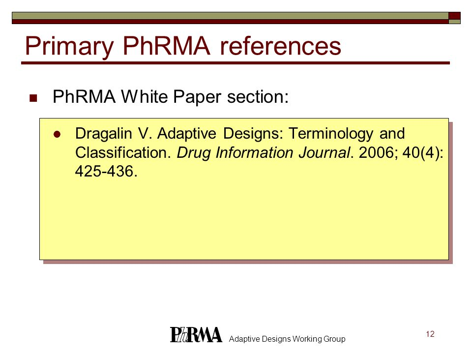 Primary PhRMA references