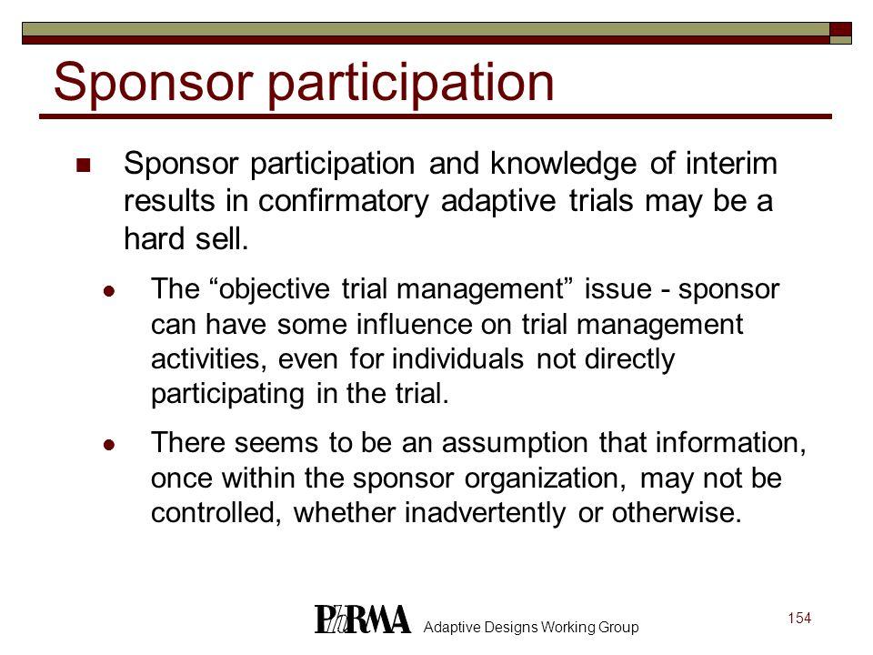 Sponsor participation