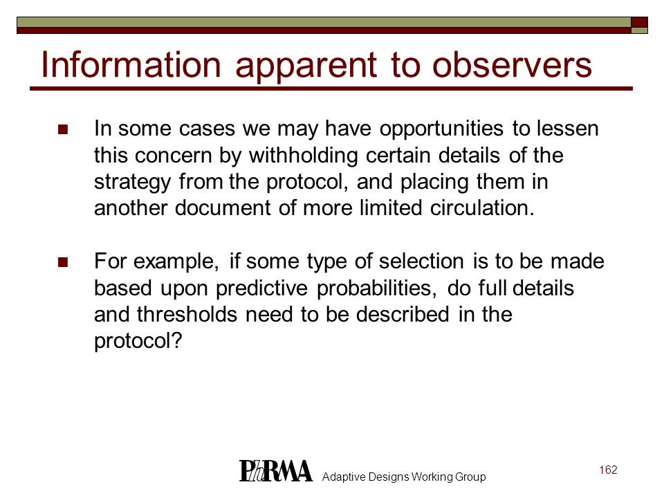 Information apparent to observers