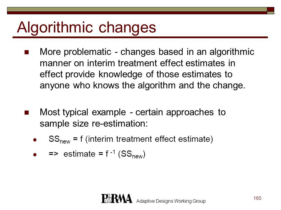 Algorithmic changes