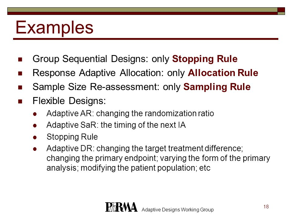Examples Group Sequential Designs: only Stopping Rule