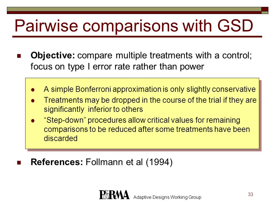 Pairwise comparisons with GSD