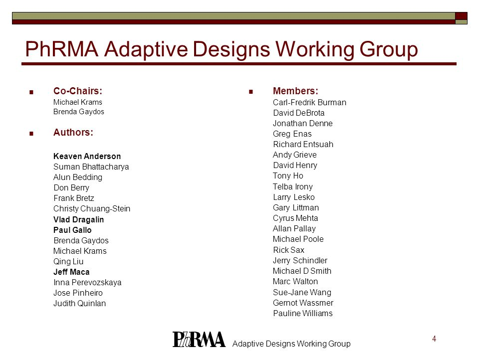 PhRMA Adaptive Designs Working Group