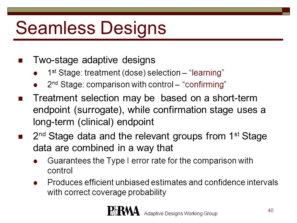 Seamless Designs Two-stage adaptive designs