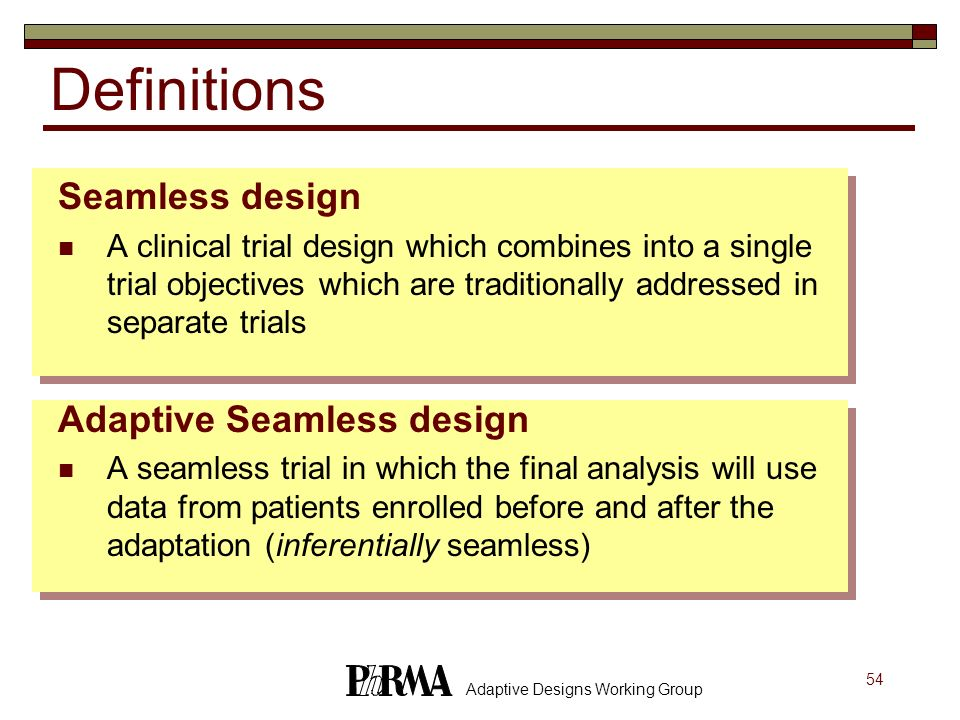 Definitions Seamless design Adaptive Seamless design