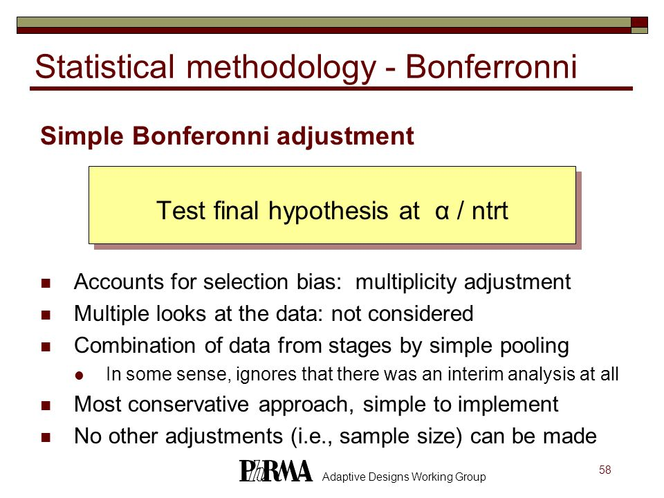 Statistical methodology - Bonferronni