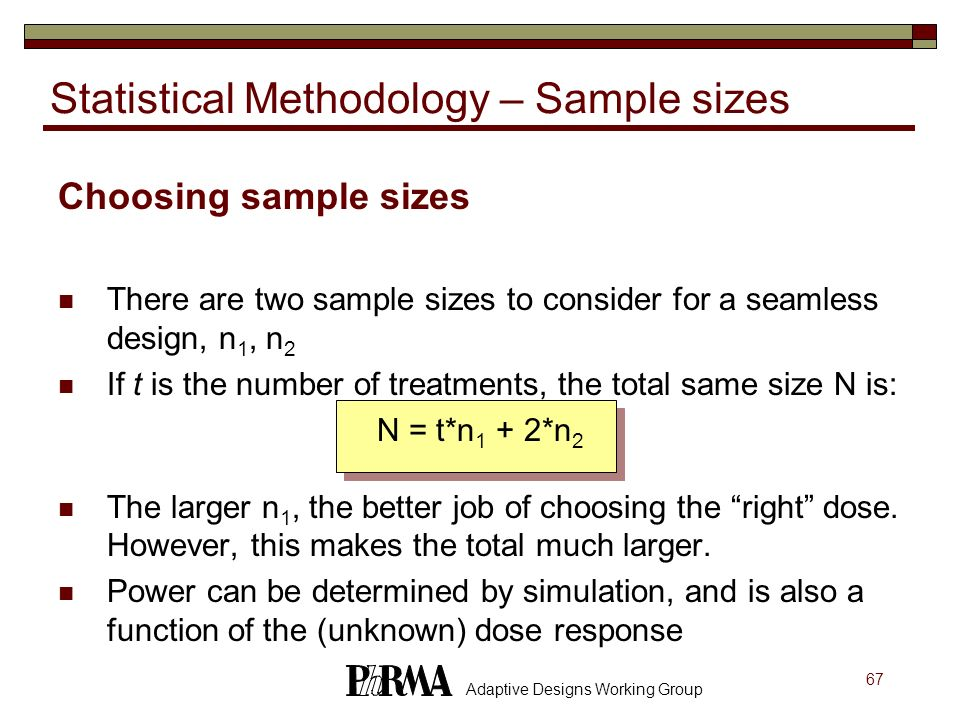 Statistical Methodology – Sample sizes