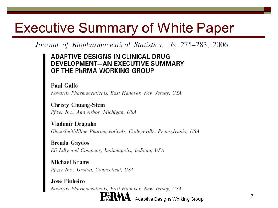 Executive Summary of White Paper