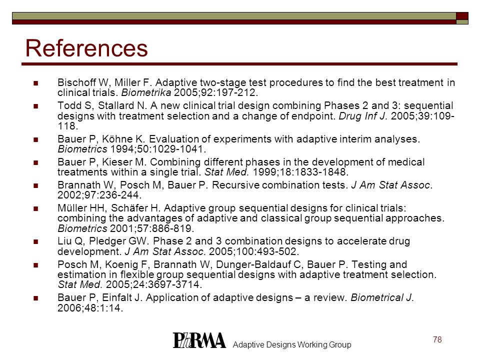 References Bischoff W, Miller F. Adaptive two-stage test procedures to find the best treatment in clinical trials. Biometrika 2005;92:197-212.