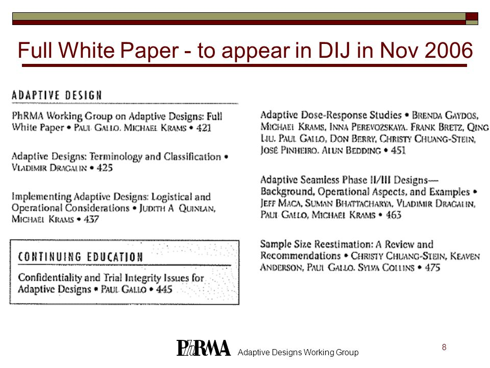 Full White Paper - to appear in DIJ in Nov 2006