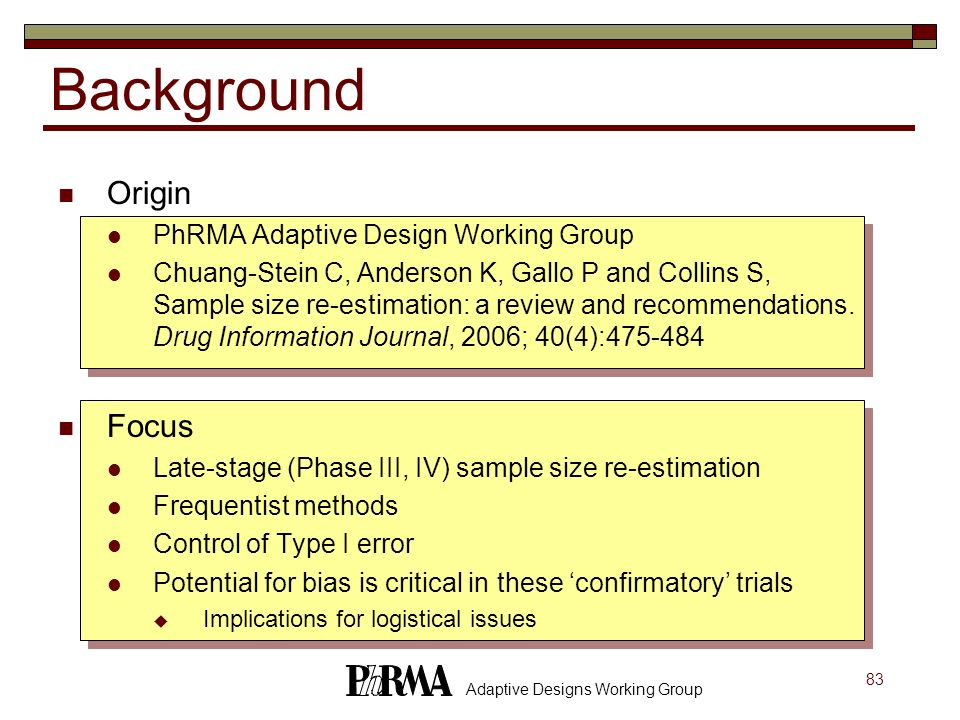 Background Origin Focus PhRMA Adaptive Design Working Group