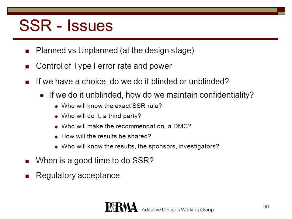 SSR - Issues Planned vs Unplanned (at the design stage)