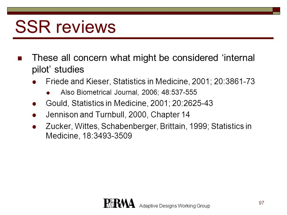 SSR reviews These all concern what might be considered 'internal pilot' studies. Friede and Kieser, Statistics in Medicine, 2001; 20:3861-73.
