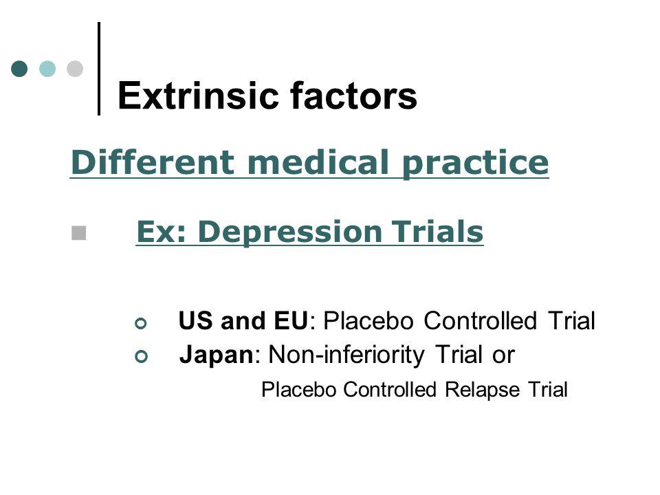 Extrinsic factors Different medical practice Ex: Depression Trials