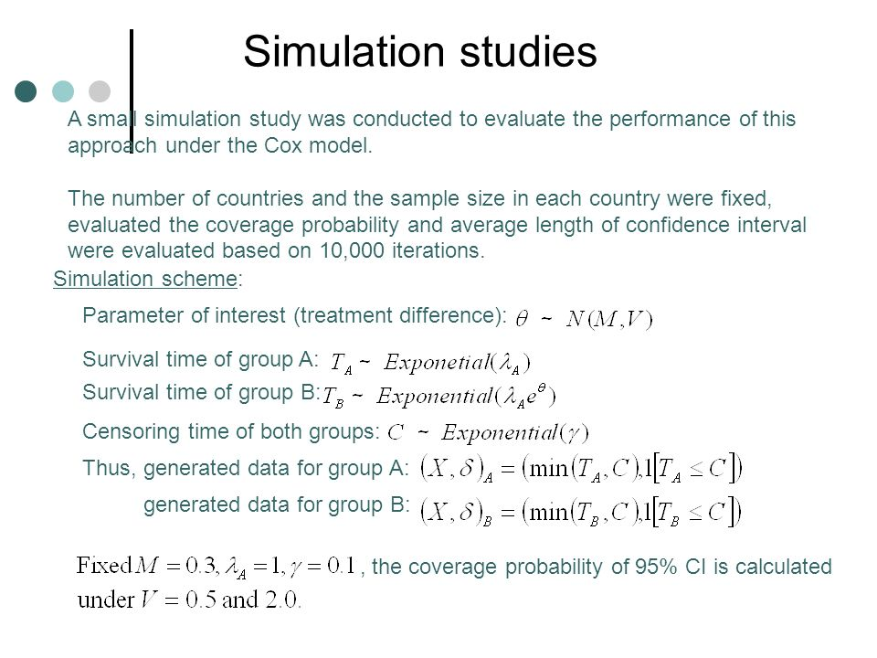 Simulation studies A small simulation study was conducted to evaluate the performance of this approach under the Cox model.