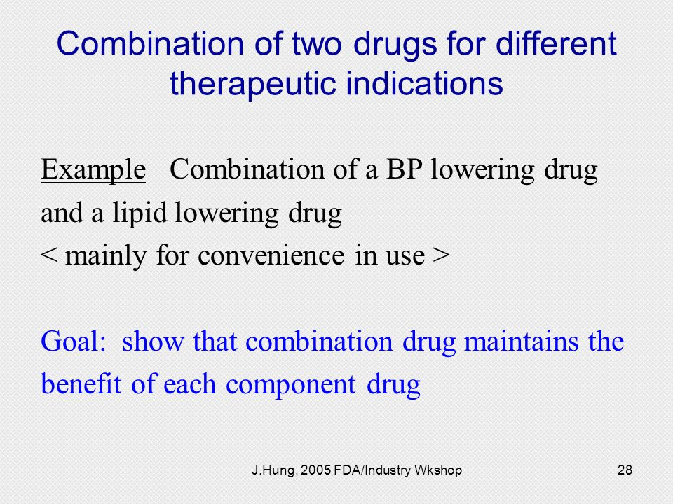 Combination of two drugs for different therapeutic indications