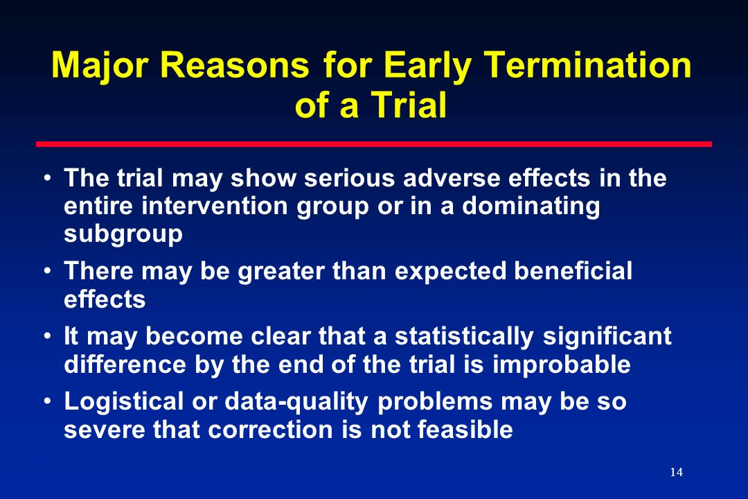 Major Reasons for Early Termination of a Trial