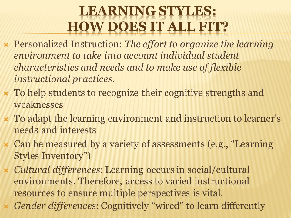 gender differences in learning styles This study is aimed at identifying the learning styles of school of distance education usm distance learners and the differences based on gender with the usage of videoconferencing technology the .
