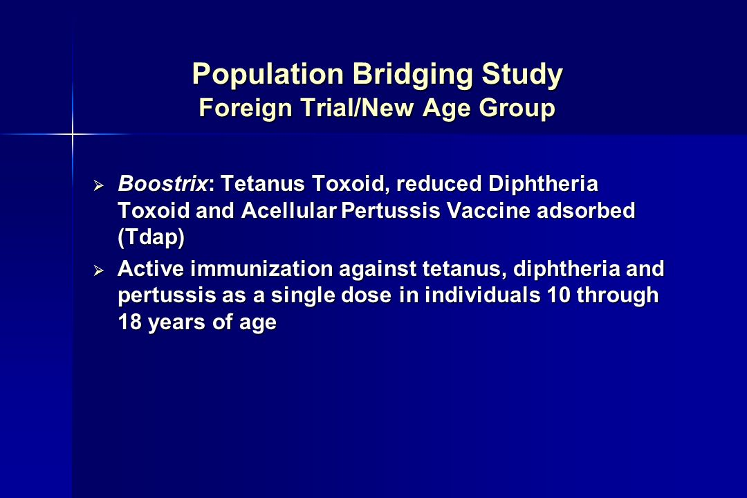 Population Bridging Study Foreign Trial/New Age Group