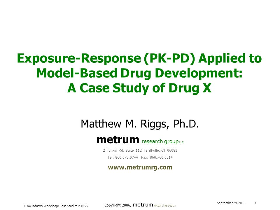 Exposure-Response (PK-PD) Applied to Model-Based Drug Development: A Case Study of Drug X